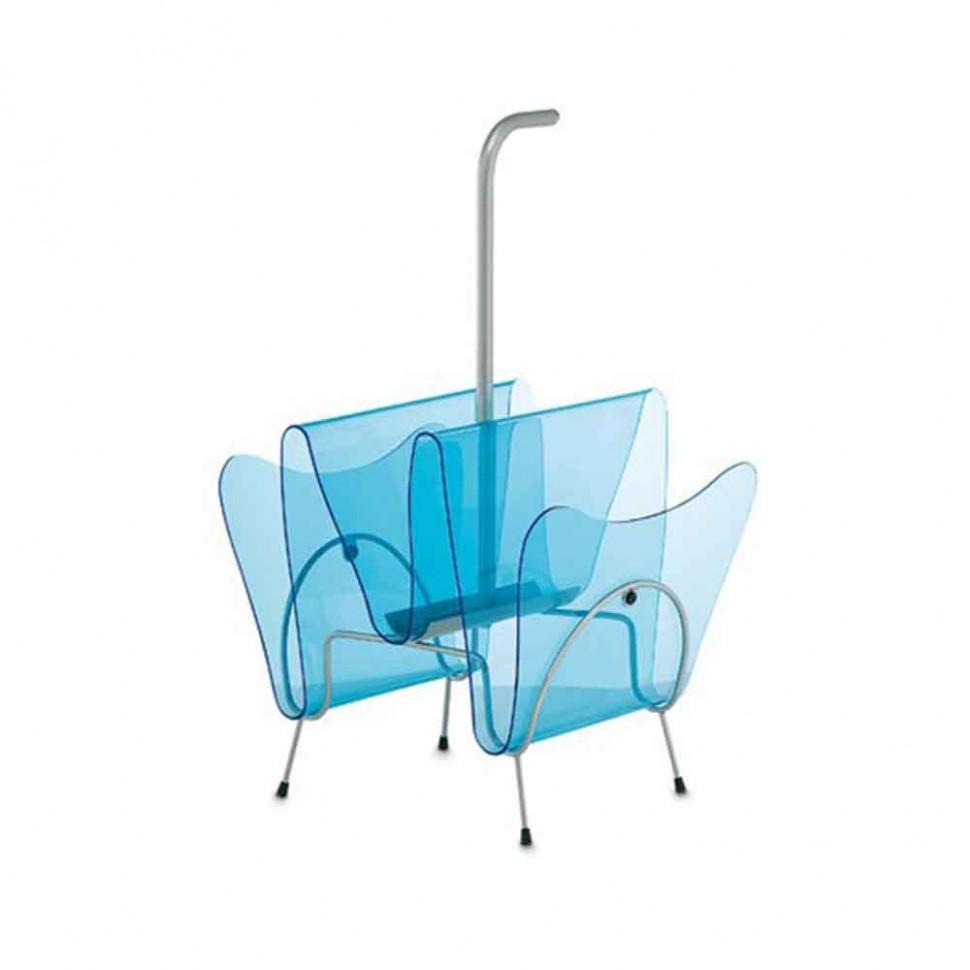 Portariviste in plexiglass trasparente e telaio in acciaio JMAR