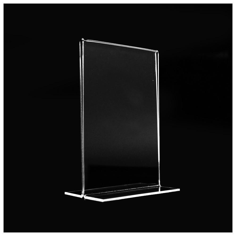 Expositor doble en plaxiglass transparente. Marco de fotos doble cara.